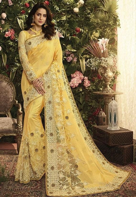 Wedding Saree Satin Art Silk Blouse In Yellow SIYA995 - Siya Fashions