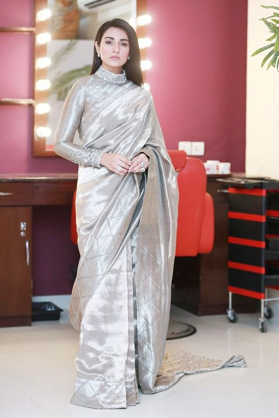 Wedding Saree Silver Silk Sequined Neck SIYA783INS - Siya Fashions