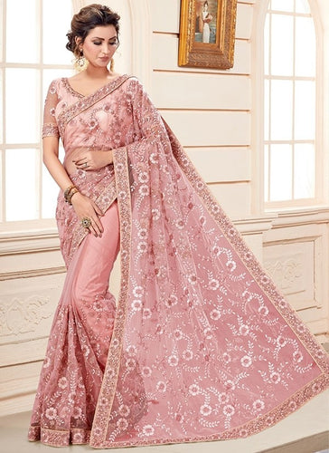 Wedding Saree Soft Pink In Net SF99179YD - Siya Fashions