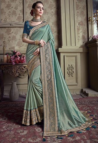 Wedding Saree Turkish Grey Silk Weaving SIYA481YD - Siya Fashions