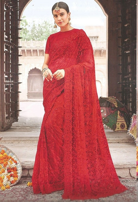 Wedding Saree Vermillion Red In Net SF99113YD - Siya Fashions