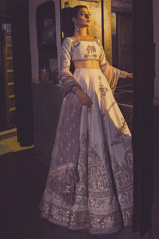 White Bridal Dulhan Wedding Haute Couture Silk Lehenga DULHAN56 - Siya Fashions