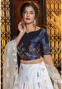 White Color Cotton Fabric Lehenga Choli SYD5429 - Siya Fashions