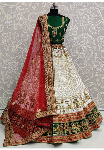 White Heavy Bridal Lehenga In Satin With Stone Work SIYA3233 - Siya Fashions