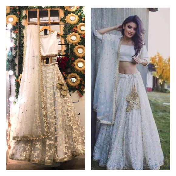 White Net Wedding Lehenga Choli Made To Measure SFIN41123