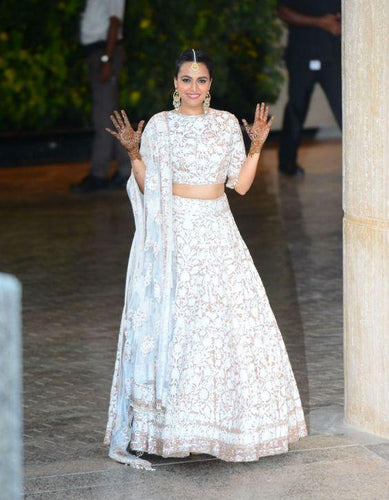 White Wedding Cocktail Lehenga Italian Lace Work SFINR22 - Siya Fashions