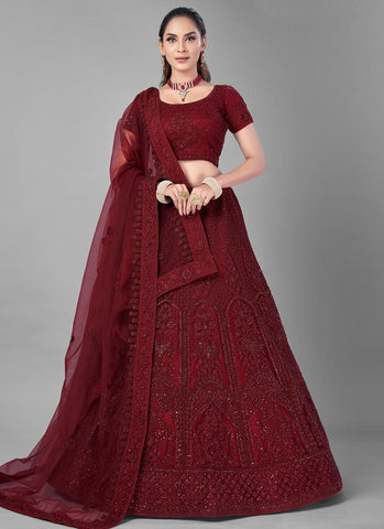 Wine Bridal Wedding Ceremony Lehenga In Net FZMAY290