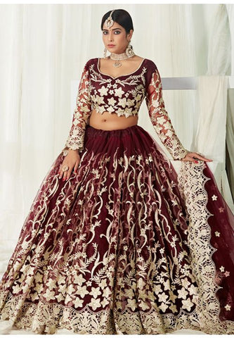 Wine Gold Bridal Lehenga Choli In Net Badla Work SIYA0097 - Siya Fashions