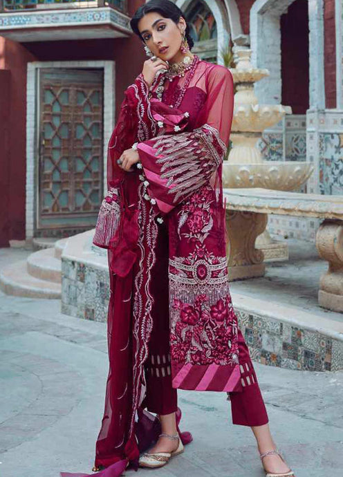 Wine Kinaar by Shiza Hassan Embroidered Poly Net Suit 3 Piece Suit - Dhaani - Siya Fashions
