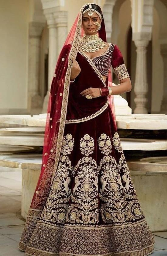 Wine Bridal Lehenga Choli With Hand Zardozi Work SFINSB43