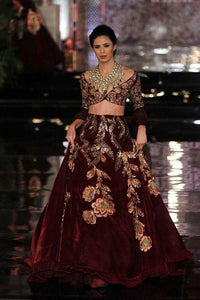 Wine Bridal Wedding Reception Cocktail Lehenga In Silk SFIN563 - Siya Fashions