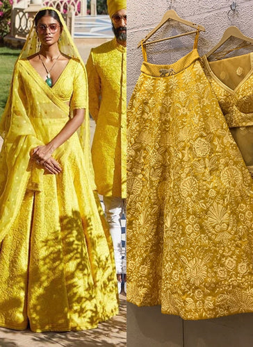 Yellow Bridal Haldi Wedding Lehenga Set SIYAINS309SD