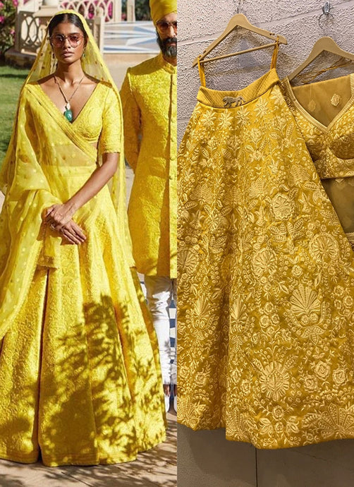 Yellow Bridal Haldi Wedding Lehenga Set SIYAINS309SD - Siya Fashions