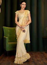 Yellow Bridesmaid Designer Evening Lehenga Saree In Silk Georgette SIYA117YDS - Siya Fashions