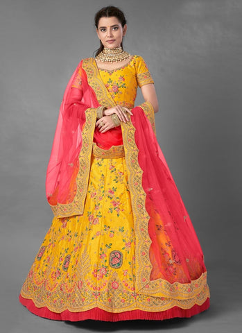Yellow Haldi Bridal Wedding Reception Lehenga Set In Art Silk  FZMAY288