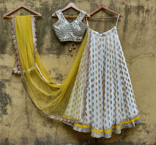 Yellow Gold Mirror Lehenga Georgette SIYA127IN - Siya Fashions