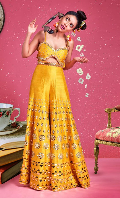 Yellow Jumpsuit Stylish Sequin Work SFYD90SINS - Siya Fashions