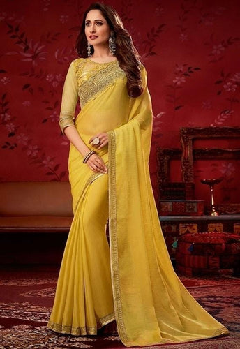 Yellow Lemon Chiffon Digital Saree SF9701YD - Siya Fashions