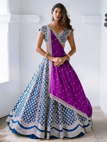 Zara Bridal Wedding Purple Blue Lehenga Set SFINS1123