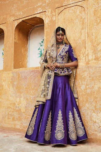 Zara Sequins Bridal Wedding Purple Lehenga Set SFINS1122