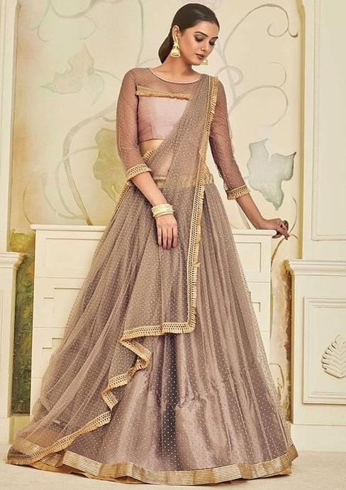 Zari Stone Beige Brown Lehenga Choli In Net SIYD137 - Siya Fashions
