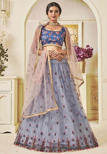Zari Stone Purple Grey Lehenga Choli In Net SIYD136 - Siya Fashions