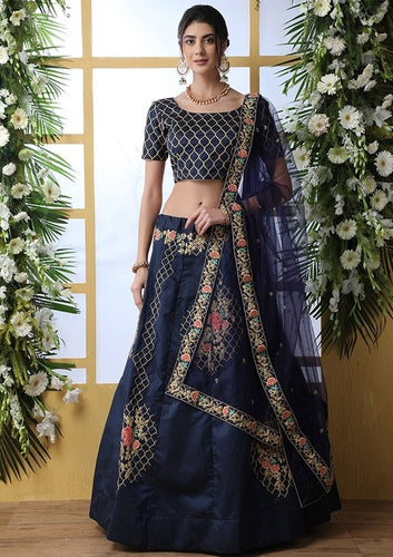 Zazzle Bridesmaid Blue Art Silk Lehenga Choli Set SIYA6641