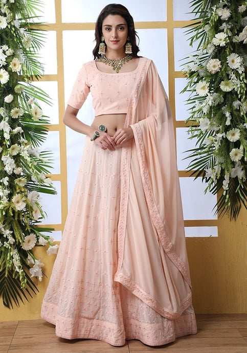 Zazzle Bridesmaid Georgette Peach Lehenga Choli Set SIYA6642 - Siya Fashions