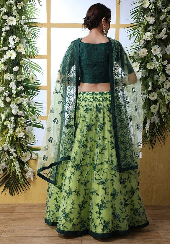 Zazzle Bridesmaid Green Net Lehenga Choli Set SIYA6639 - Siya Fashions