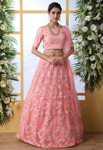 Zazzle Bridesmaid Pink Net Lehenga Choli Set SIYA6640 - Siya Fashions