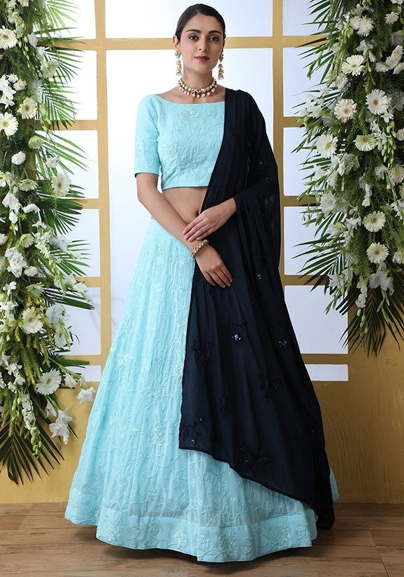 Zazzle Bridesmaid Sky Blue Lehenga Choli Set Teffeta Silk SIYA6644 - Siya Fashions
