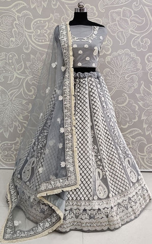 Zubby Grey Tassel Wedding Lehenga Choli SIYA3045EXP - Siya Fashions