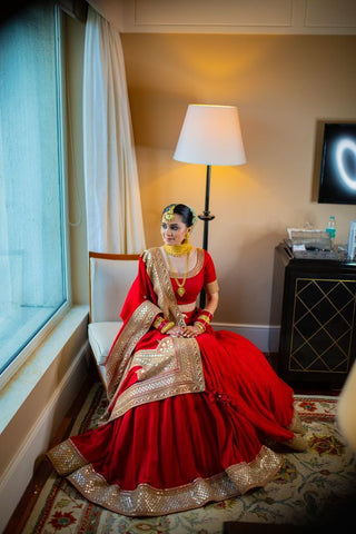Red Bridal Lehenga Set In Silk With Double Border Goldwork SIN438SD - Siya Fashions