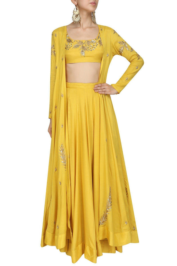 Bespoke Lemon Yellow Silk Lehenga Choli Online SFB24