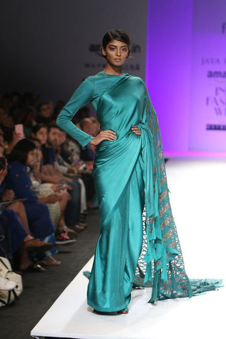 Siya Fashions Ready Made Teal Silk Cocktail Saree SFSE209 - Siya Fashions