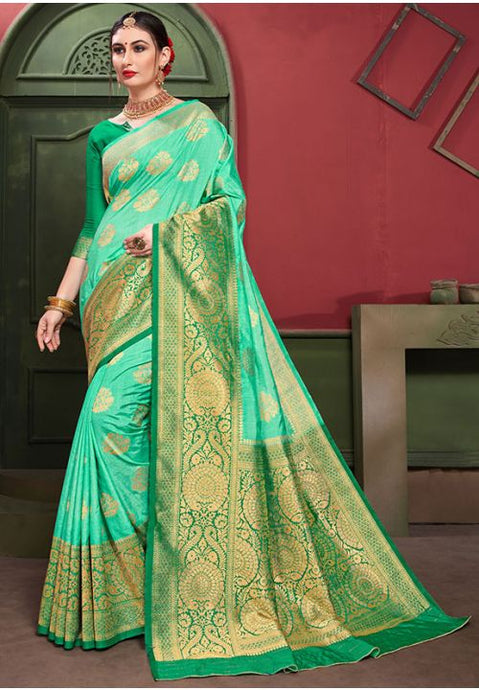 Green Indian Wedding Party Saree In Banarasi Silk YDS1042 - Siya Fashions