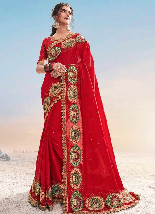 Red Bridal Wedding Party Wear Net Saree Blouse SSFWED45 - Siya Fashions