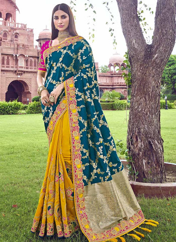 Bridal Banarasi Silk Yellow Teal Saree With Pink Blouse SFWEB1312 - Siya Fashions