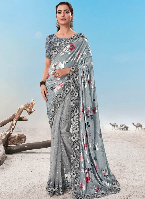 Grey Evening Wedding Party Wear Net Satin Saree SSFWED46 - Siya Fashions