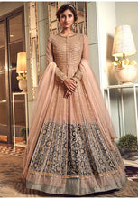Load image into Gallery viewer, Alluring Peach Grey Anarkali Long Suit In Net Silk Diamond Work SFYDS2084 - Siya Fashions