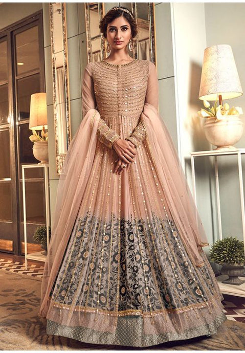 Alluring Peach Grey Anarkali Long Suit In Net Silk Diamond Work SFYDS2084 - Siya Fashions