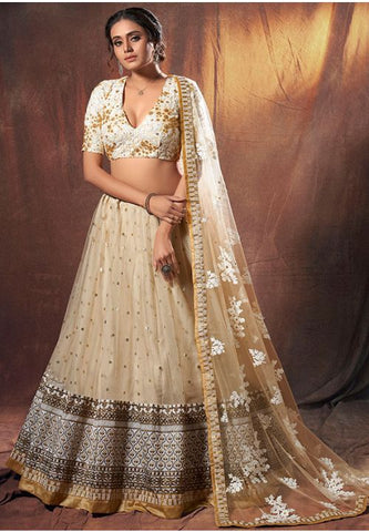 Beige Sangeet Wedding Lehenga Choli In Net SFASHIONS95 - Siya Fashions