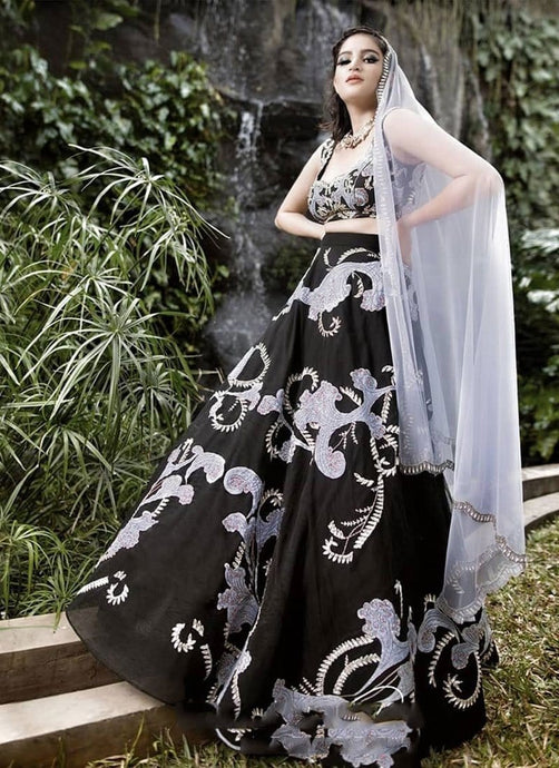 Mindblowing Cocktail Reception Black Lehenga With Handwork SFIN0911 - Siya Fashions