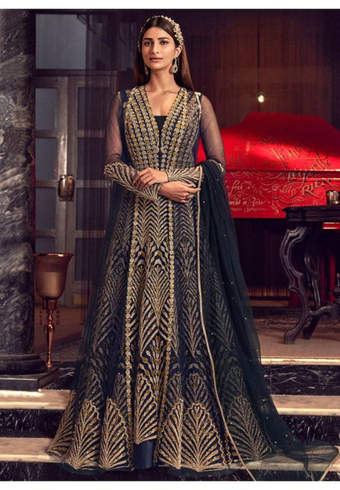 Alluring Black Anarkali Long Suit In Net Silk Diamond Work SFYDS2083 - Siya Fashions