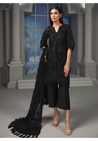 Black Cigarette Pant Kameez In Pearls Net SY0043YDSS - Siya Fashions