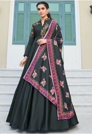 Black Readymade Anarkali Gown In Silk Embroidery Work APR212 - Siya Fashions
