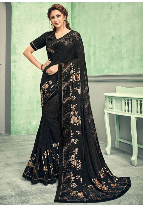 Indian Wedding Party Saree In Lycra Black With Blouse SIYA756YSD - Siya Fashions