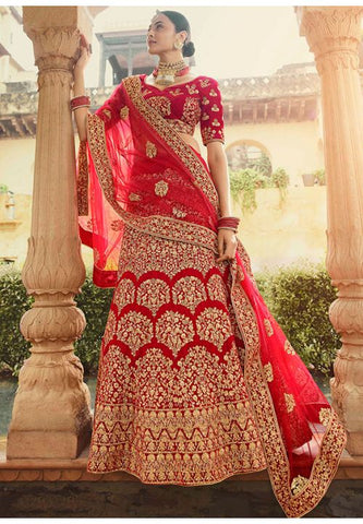 Bridal Designer Wedding Pure Velvet Red Color Lehenga Choli SYD21562 - Siya Fashions