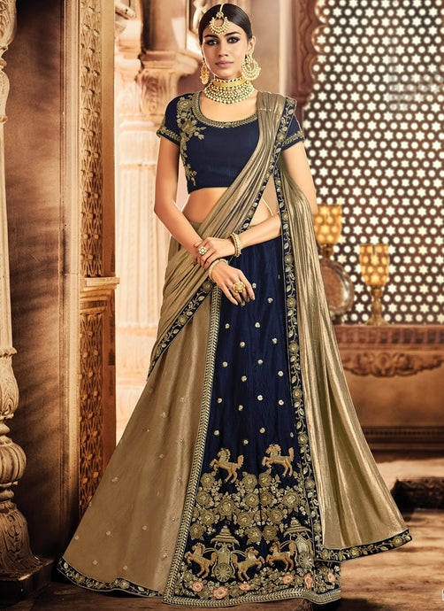 Beautiful Navy Blue Velvet Lehenga Choli SF6521 - Siya Fashions