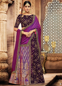 Elegant Purple Color Velvet Silk Lehenga Choli Online SF2015 - Siya Fashions